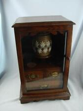 More details for superb antique oak smokers cabinet glazed door, 3 internal drawers & doulton jar