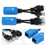 2pcs RJ45 splitter combiner POE Kit de d'alimentation Adapter Cable Connectors