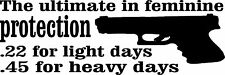 Feminine protection decal/sticker light/heavy days funny 2nd amendment USA