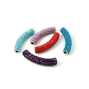 10pcs Shining Brass Rhinestone Metal Beads Curved Tube Loose Spacer Craft 45x9mm