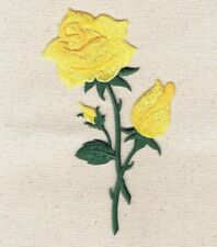Yellow Rose - Open - Petals on Stem - Iron on Applique/Embroidered Patch