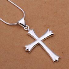 Fashion 925Sterling Solid Silver Women Men Jewelry Cross Pendants Necklace N290