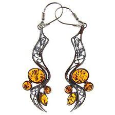 Baltic Amber Sterling Silver 925 Drop Dangling Hoops DESIGNER Earrings Jewellery