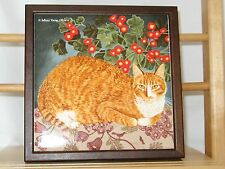 Orange Cat Tile Trivet or Plate from Avon Viintage 1990's - Very Gently Used