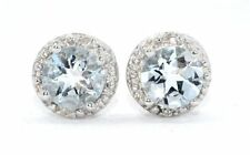 14Kt White Gold Natural Aquamarine & Diamond Round Stud Earrings