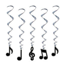 Pack of 5 Musical Note Hanging Whirls - 90 cm - Music Notes - Party Decorations
