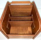 Vintage Teak Tech Danish Modern Roll Top File Recipe Desk Organizer Wood Box