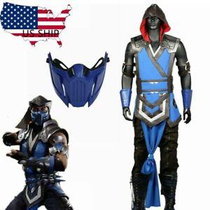 Mortal Kombat 11 Sub-Zero Cosplay Costume Blue Bodysuit Halloween Full Set