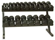 Troy VTX Rubber Encased Dumbbells 8 Sided 5 to 50Lb Set With Rack NEW