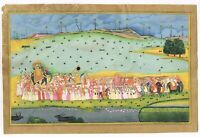Hand Painted Indian Miniature Painting Of Mughal Army Procession Art On Paper