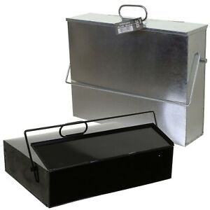 Hot Ash Box Carrier Lid Fireplace Bucket Tidy Bin Metal Container Transporter