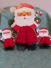 3 Vintage Santa Claus Cardboard Die Cut Honeycomb Tissue decor