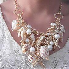 Chunky Gold Tone Shell Starfish Pearl Bib Statement Necklace