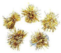 Vintage Christmas Tinsel Ornaments Japan Metallic Gold Tone Poms Tinsel Bursts