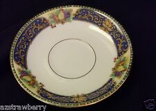 J Pouyat JP LIMOGES  France W lot of 3 saucers china cobalt blue gold scroll
