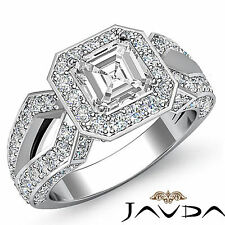 Comforting Asscher Diamond Antique Engagement Ring GIA H SI1 Platinum 2.36 ct