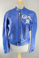"""VINTAGE 60s BLUE RIVETTS OF LONDON 2 PIECE LEATHER BIKER SUIT CHEST 36/WAIST 30"""""""