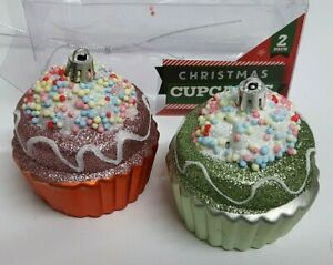 2 Christmas Green/Orange CUPCAKES Glitter Bubble Bauble Hanging Tree Decoration