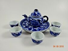 7 pc Set Toy Child's Dishes ColBolt Blue and White Cups Plate Tea Pot