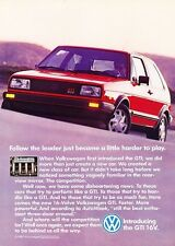 1987 VW Volkswagen GTI 16V Original Advertisement Print Art Car Ad J588