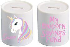 Personalised Rainbow  unicorn savings fund Ceramic Money Box Great Gift
