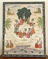 Vintage Large Framed Krishna Raas Leela Pichwai Maharas Textile Fabric Painting