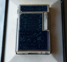 S T Dupont L1 Large Lighter Blue Jeans Laque de Chine Silver Plated Trim Boxed