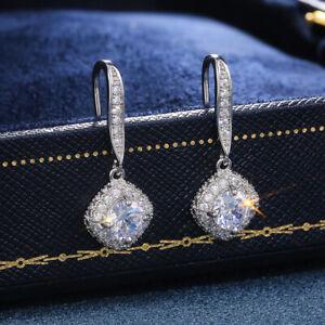 925 Silver White Sapphire Zircon Earring Stud Drop Dangle Women Jewelry Gifts