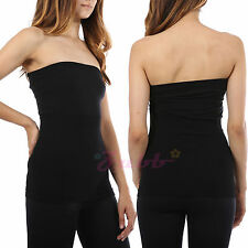 Sleeveles Strapless Tube Top long Bandeau Seamless Stretch Ribbed Basic Layering
