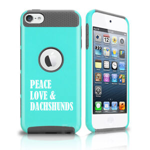 For Apple iPod Touch 5th 6th Shockproof Hard Case Cover Peace Love & Dachshunds