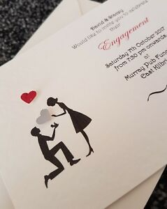 25 Personalised Heart Engagement Party / Proposal Invitations free Envelopes
