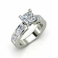 2.00ct Princess Cut Forever Solitaire Anniversary Engagement Ring 14k White Gold