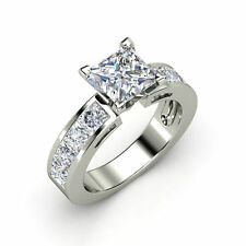 2.00ct Princess shape channel solitaire engagement ring 14kt solid white gold