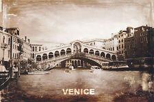 Postcard Grand Canal Rialto Bridge VENICE ITALY Vintage Look Post Card