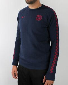 Barcellona Nike Felpa Sportiva Girocollo Uomo Sportswear GFA Fleece Crew Blu