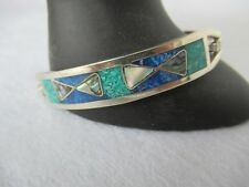 Taxco Mexico bracelet sterling silver, blue green stone, abalone inlay