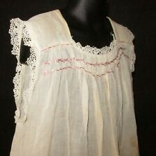Antique Girls Lg Gown Slip Under Dress Lace Trim Smocked Embroidery Distressed