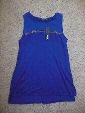 NWT APT 9 Women's BLOUSE Shirt Top TUNIC size Medium Blue Sleeveless beaded