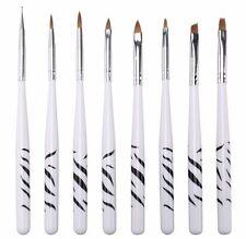 8Pcs UV Gel Acrylic Nail Tips Drawing Painting Nail Art Pen Brushes Tool Set