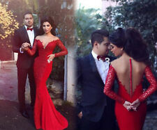 2018 Custom Red Satin Scoop Neck Mermaid Long Sleeve Evening Party Dresses Gowns