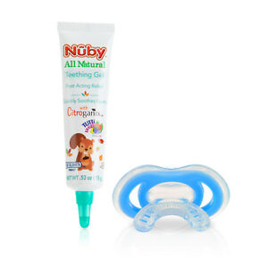 Nuby ALL NATURAL TEETHING GEL + GUM-EEZ TEETHER Fast Acting Relief Soothes Gums