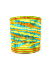 LIME GREEN, ORANGE & TURQUOISE BLEND NATURAL FIBER DECORATIVE MULTI USE BASKET