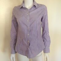 Banana Republic Non-Iron Fitted Womens Striped Purple & White Career Shirt Sz 4