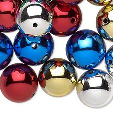Metallic Beads Acrylic Round 16mm Holiday Jewelry Craft Lot of 24
