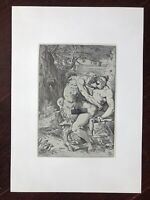 """Erotische Lithographie Franz von Bayros """"Satyr nimmt Nymphe"""" Sex in freier Natur"""