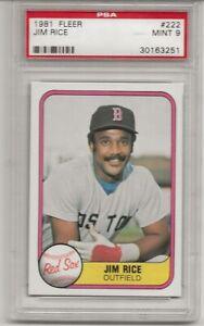 1981 FLEER #222 JIM RICE, PSA 9 MINT, BOSTON RED SOX,  L@@K !