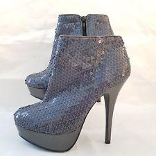 Kelly Brook Sexy Sequin Platform Party Boots Heel Holographic Grey UK 5 EUR 38