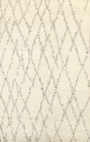 Trellis Contemporary Moroccan Oriental IVORY Area Rug Hand-knotted 5'x8' Carpet