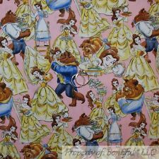 BonEful Fabric Cotton Quilt Pink Yellow Princess Belle Beauty & Beast SCRAP
