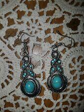 F 00004000 ish Hook Dangle Drop Earrings Bohemian Oval Shape Blue Turquoise Gemstone